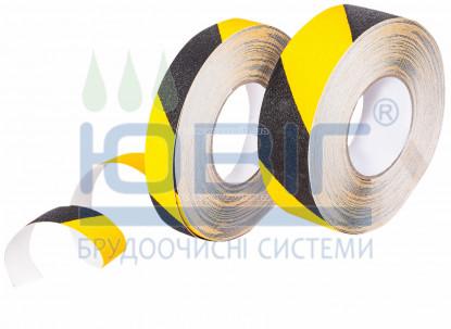 Антискользящая лента предупреждающая, стандартня зернистость, черно-желтая, рулон 18.3 м. фото